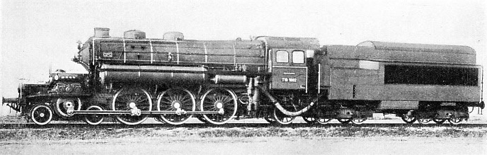 This Pacific condensing turbine locomotive was built by J. A. Maffei of Munich