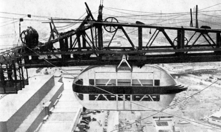 Cars of the Sky Ride travelled above the Century of Progress Exhibition at Chicago in 1933