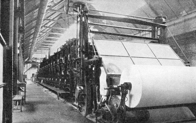 The machine drying section of the Imperial Paper Mills, at Gravesend, Kent.