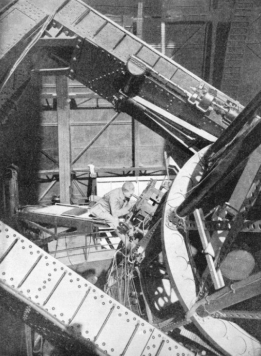 AN OBSERVER AT THE 100-INCH TELESCOPE in Mount Wilson Observatory