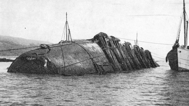 THE UPTURNED HULL of the dredger Silurus