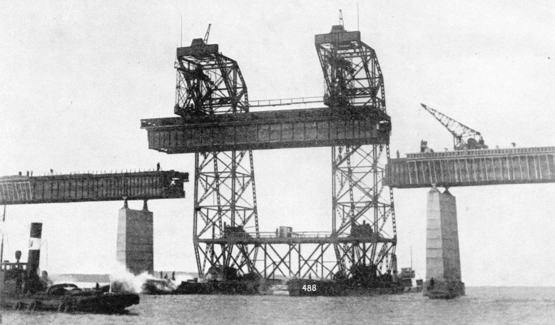 A giant floating crane used in the construction of the Storstrom Bridge