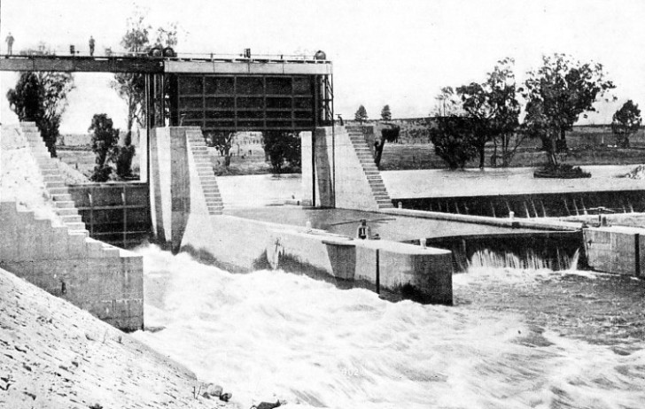 THE WEIR AT BERREMBED, 220 miles downstream from Burrinjuck Dam