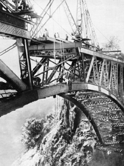 The final stages of constructing the Victoria Falls Bridge