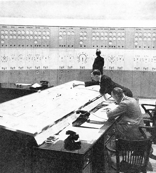 THE INTERIOR OF A CONTROL ROOM, which is connected by private telephone lines with all the generating stations in its own district